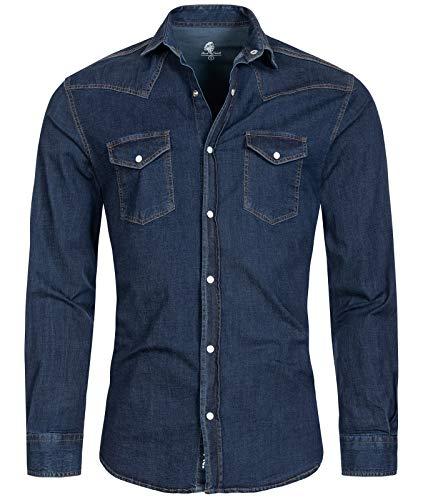 Rock Creek Herren Jeans Hemd Herrenhemd Denim Jeanshemd Vintage mit druckknöpfen Regular Fit Stehkragen Kentkragen Langarm Männer H-200 Dunkelblau M