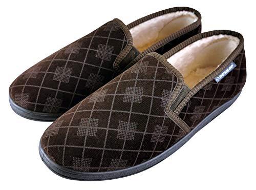 Dunlop - Herren Memory Foam Winter Warm Gestrickt Mokassins Hausschuhe mit Gummisohle (45 EU, Brown)