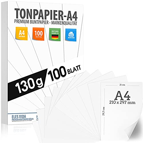 PREMIUM Tonpapier - A4 130g 100 Blatt Tonzeichenpapier weiß - PREMIUM - Schneeweiß - Bastelpapier - Unbedruckt für Postkarten, Briefe, Pappe, Präsentationen 21x29 cm, Zeichenkarton DIY zum Basteln