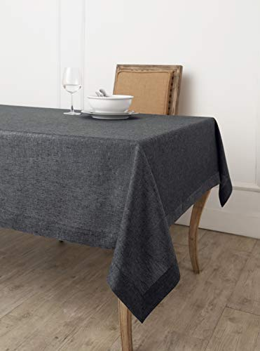 Solino Home 100% Linen Tablecloth - 60 x 120 Inch Grey, Natural Fabric, European Flax - Athena Rectangular Tablecloth for Indoor and Outdoor use