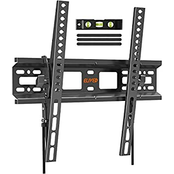 Tilting TV Wall Mount Bracket Universal TV Mount Low Profile for 26-55 Inch Flat Screen TVs Ultra Slim Easy to Install with Tilting Knob Fits 12 /16  Studs Max VESA 400x400mm 99 lbs ELIVED