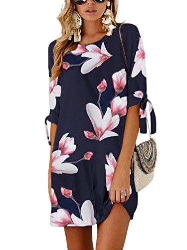 YOINS Sommerkleid Damen Kurz Tshirt Kleid Rundhals Kurzarm Minikleid Kleider Langes Shirt Lose Tunika mit Bowknot Ärmeln ,L,Rosa-01