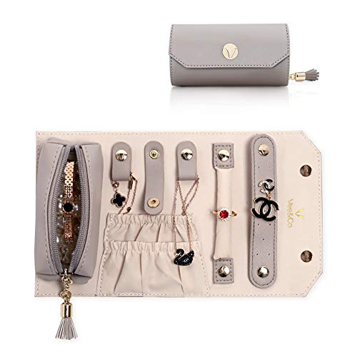 Vee Travel Jewelry Organizer Jewelry Box, Jewelry Roll, Travel Accessory Storage Box for Rings Earrings Necklaces (Grey)