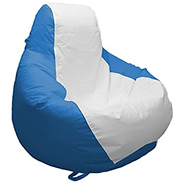 A2S Protection JoyBean Outdoor Bean Bag Chair Marine - Water Resistant Ideal for Pool Patio Garden Lawn Marine Yacht Multiple Sizes for Adults Teens Kids (Medium, White/Oceanblue)