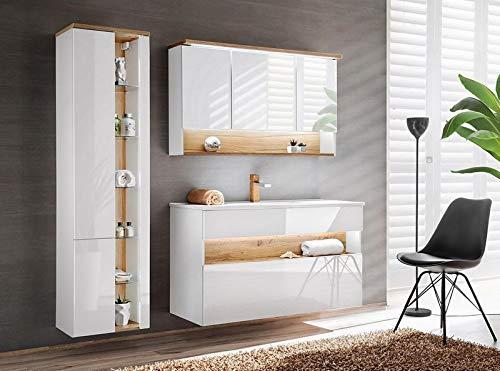 Jadella badmeubelset 'Rio wit 120' badkamerset 4 TLG wastafel 120cm eiken hoogglans wit met LED-verlichting