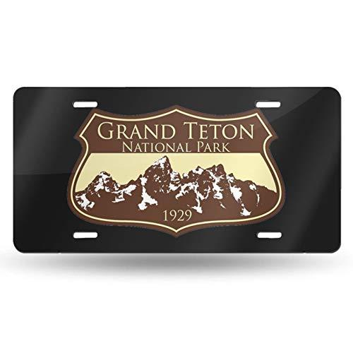 Grand Teton National Park Logo Decorative Car Front License Plate,Metal Car Plate,Vanity Tag,Aluminum Novelty License Plate for Women/Men/Girls/Boy Car.