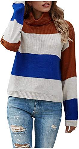 22 Camisas tipo túnica para mujer, suéter de cuello alto, casual, manga larga, bloque de color, suelto, para mujer, manga larga/corta