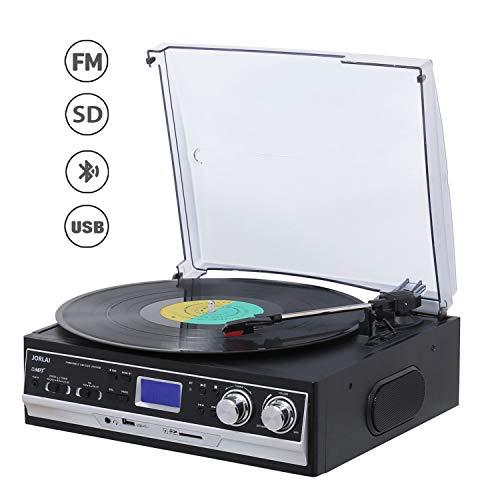 Giradiscos JORLAI 33/45/78 con Bluetooth Reproductor de CD y Vinilo Grabación USB / SD y Juego de Casete, PLL Radio FM, Entrada AUX de y Conector para Auriculares, Salida de línea para Altavoz Externo