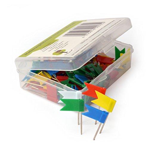 OfficeTree ® Markierungsfähnchen - 100 Stück 5 Farben - perfekte Kennzeichnung und Übersicht auf Landkarten Weltkarten Pinnwand - Landkarten-Nadel Markierungszubehör - in praktischer Aufbewahrungsbox