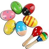 6 uovo shaker e 2 martello di sabbia, maracas di strumenti musicali a percussione Giocatto...