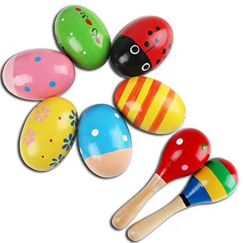 6 Piezas maracas de huevo and 2 Piezas martillo de arena de madera, divertido juguetes musicales de percusión maracas y regalo de Pascua para niños bebé