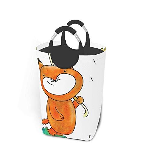 ELIENONO Bolsa de lavandería,Fox Fox In The Rain Cute Fox Paraguas Cute,Cesta de lavandería Plegable Grande,Cesto de Ropa Plegable,Papelera de Lavado Plegable