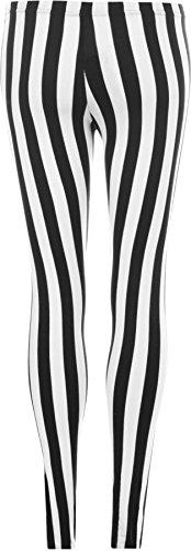 WearAll - Damen schwarz Streifen Leggings - Schwarz - 48 bis 50