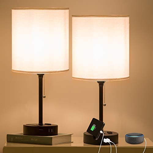 Focondot USB Table Lamp Phone Stand Bedside Lamp Built in Dual USB Ports 2 Prong Outlet Pull product image