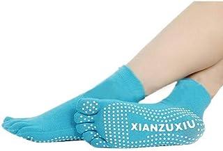 Mujeres Antideslizantes Calcetines de Cinco Dedos Yoga Gimnasia Deporte Ejercicio Masaje Fitness Calcetines Calientes Azul