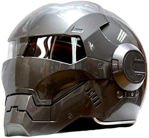 Carretera Hombre Iron Man Marvel Avengers Casco Profesional de Edad, Auriculares SUV Motocross De Cara Completa Moto Tapa Abierta Máscara, Transformers (XL)