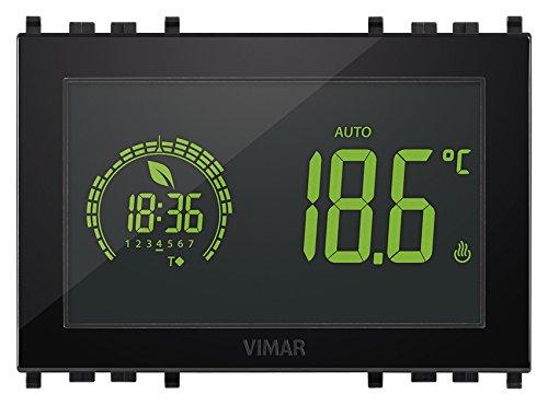 Vimar 02955 Cronotermostato elettronico Touch Screen per Controllo della Temperatura Ambiente (Riscaldamento e condizionamento), 3M 120-230V, Nero