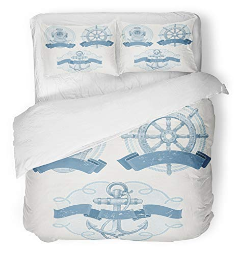 Soefipok 3-teiliges Bettbezug-Set atmungsaktives gebürstetes Mikrofasergewebe Marine-Nautik-Embleme mit altem Taucherhelm Schiffslenkrad und Ankerbettwäsche-Set mit 2 Kissenbezügen Full/Queen Size