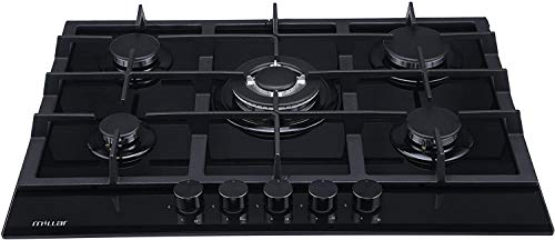 MILLAR GH7051TB 70cm Built-in 5 Burner Black Gas on Glass Hob/Cooker/Cooktop with FFD