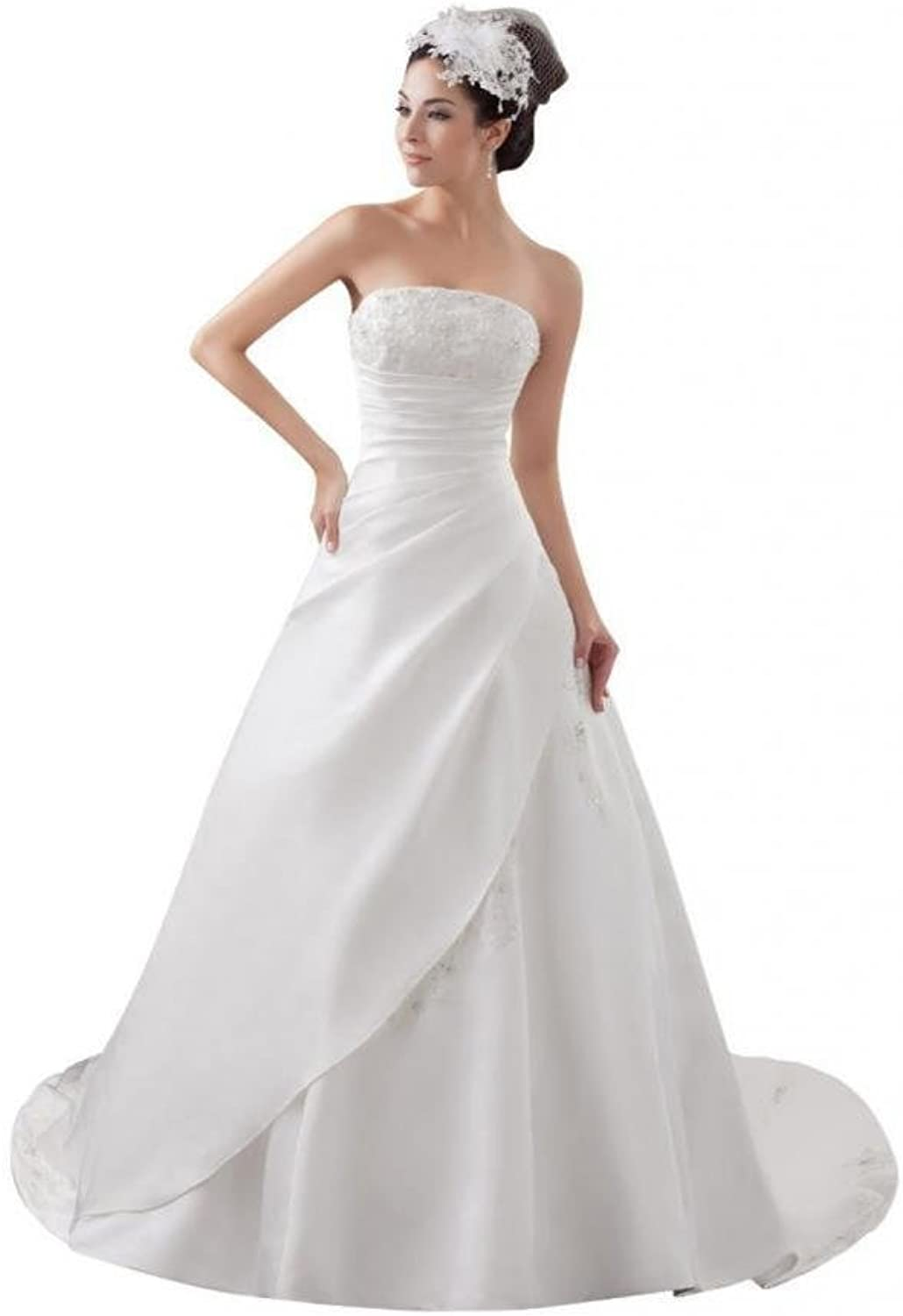 Dearta Women's ALine Strapless Court Train Charmeuse Wedding Dresses