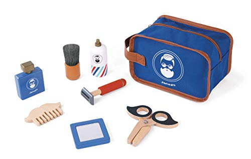 Janod Shaving Set – My First Pretend Play Classic Grooming Kit– Durable Mess-Free Wooden Barber Tools, Shave Cream, and Mirror– Develops Role Play and Imaginative Skills – Ages 3+ Years