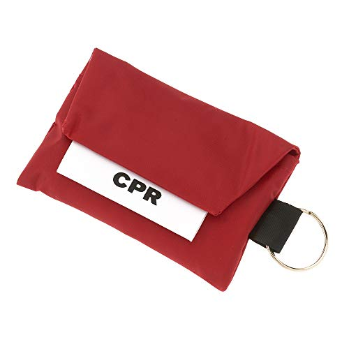 CPR Face Mask Key Chain Kit with Gloves | One Way Valve and Face Shield Mask First Aid Kit by AsaTechmed || for Travel, Home, Office, Boat, Car, EMS, Firefighters, Nurses, First Responders (Red)