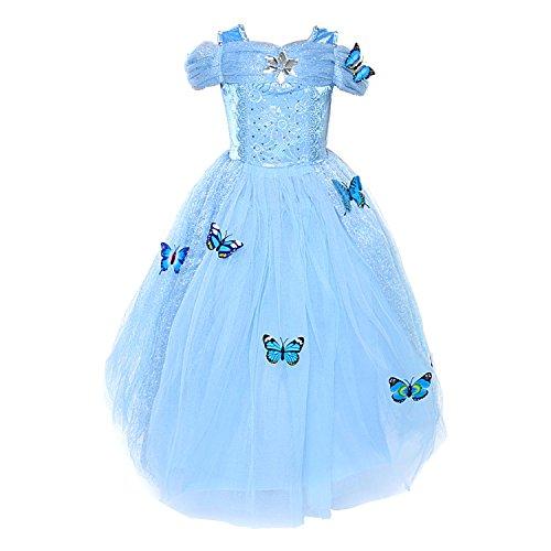 LOEL Girls' New Princess Dress Butterfly Party Costumes, Dress, 150cm...
