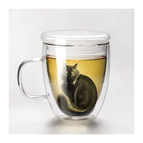 PIVFEDQX Tazas para Bebidas Taza Linda con Gato para Café O Té con Tapa Taza De Vidrio De Doble Capa Única De 12.5 Oz Tazas Resistentes Al Calor Hacen Mascotas Mamá O Papá Compañero De
