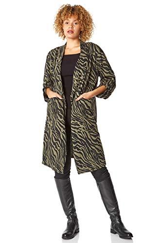 Roman Originals Mujer Animal Print Longline Jacket - Mujeres - marr�n - S