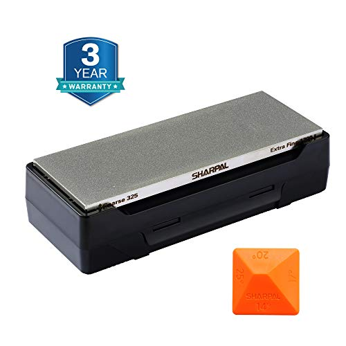SHARPAL 162N Diamond Whetstone Knife Sharpener with Storage Base   2 Side Grit Coarse 325 / Extra Fine 1200   Diamond Sharpening Stone   NonSlip Base & Angle Guide (8 in. x 3 in.)