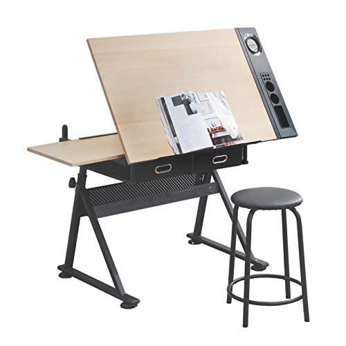 Gravwave Height Adjustable Drafting Desk Table, Art Drawing Table, Tilted Tabletop Artist Desk w/2 Storage Drawers and Stool for Home, Office, Reading, Writing