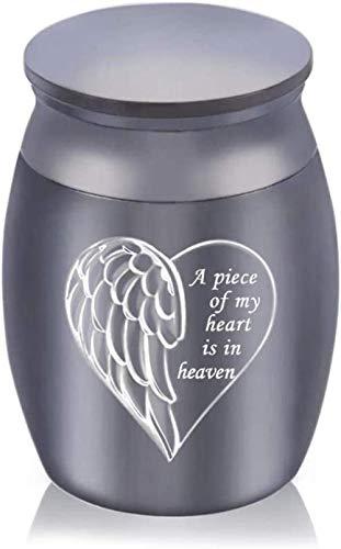JLXQL Urnas de cremación para Perros ala de ángel Grabado de corazón Urnas de Cenizas de cremación pequeñas Urnas de aleación de Aluminio Ataúd funerario Memorial Angel Keepsake-Black_30x40mm