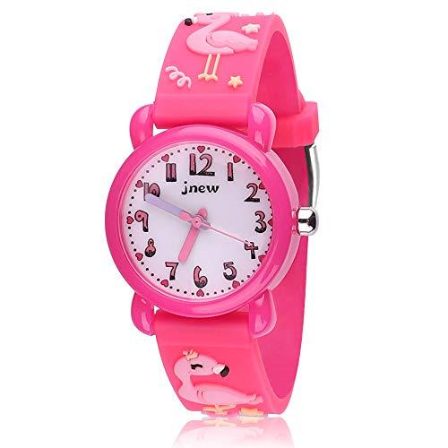 Kinder Uhr, Armbanduhr für Kinder Jungen und Mädchen, 30M wasserdichte Analog Quarzuhr, 3D Cute Cartoon Uhr, Digitale Kinderuhr, Teaching Handgelenk Uhren mit Silikon Armband, Kids Watch. (Rose Red)