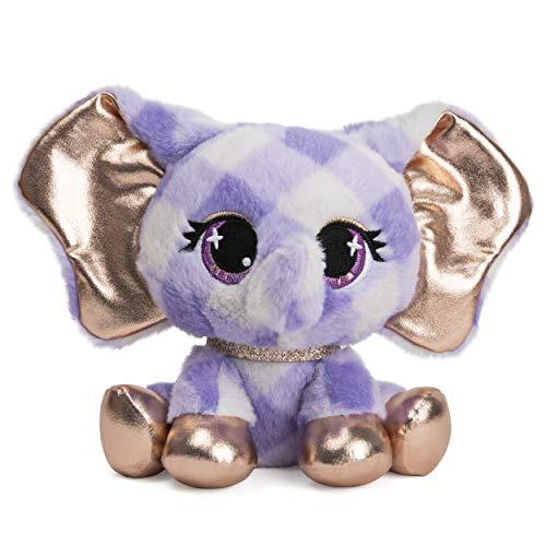 "P.Lushes Designer Fashion Pets Ella L'Phante Elephant Premium Stuffed Animal  Blue and Gold  6"""