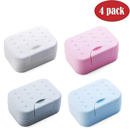 BangShou 4 Pieza Jabonera Caja Jabonera de Viaje Recipiente de Jabón Plástico de Viaje Soapbox Impermeable