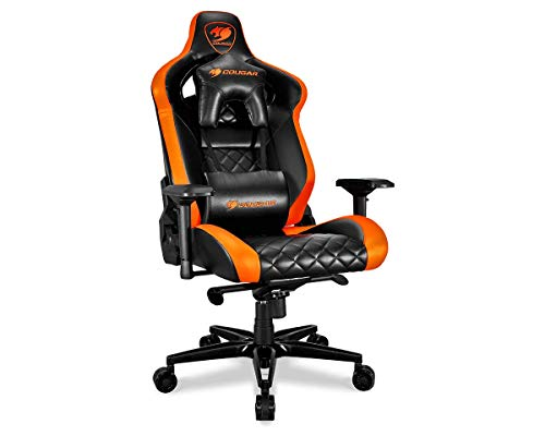 Cougar Armor Titan ultimate gaming chair with premium breathable pvc leather, 160kg support, 170 degree reclining (Black and Orange) chair gaming orange