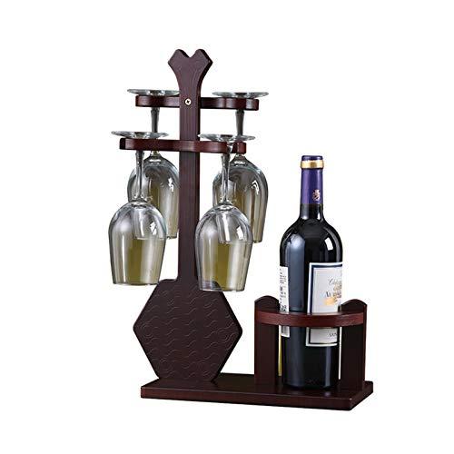 JTRHD Casier à vin de Bouteille Créatif Goblet Rack Rack rossage Maison vin Grille de Verre Bois Massif à l'envers Portant vin européen pour Armoire/Placard/comptoir