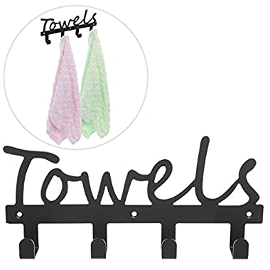 Black Metal TOWELS Design Wall Mounted Kitchen / Bathroom Storage Organizer Rack w/ 4 Hooks - MyGift