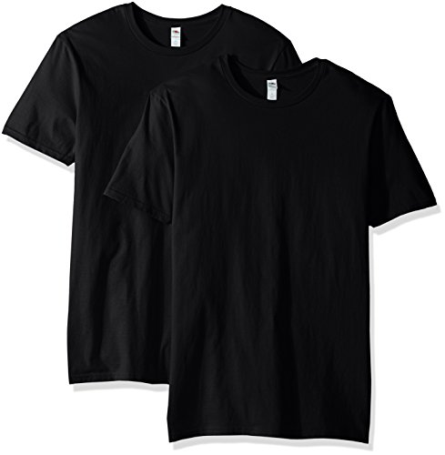 Fruit of the Loom - Playera para Hombre (2 Unidades), Negro, Large