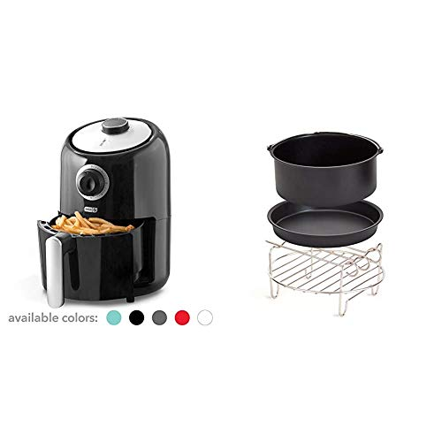 Dash DCAF150GBBK02 Compact Air Fryer Oven Cooker with Temperature Control, Non Stick Fry Basket, Recipe Guide + Auto Shut off Feature, 2qt, Black & DCAF150UP1 Accessory Air Fryer, Compact