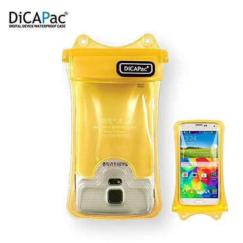 DiCAPac wasserdichte Handytasche passend für Nokia 8 Sirocco Dual SIM / 8 Sirocco Single SIM Schutz-Handyhülle/Handy-Case mit Tragegurt und Airbag - Gelb - wasserdicht IPX8 10m
