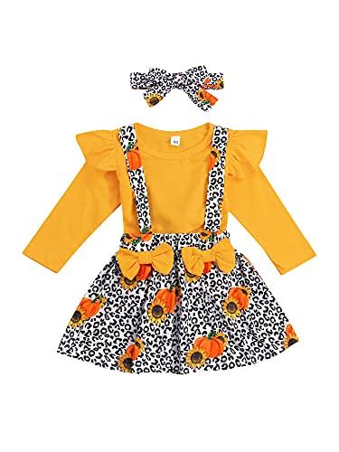 Falda de manga larga y falda de tirantes con diadema, amarillo, 4-5 Años