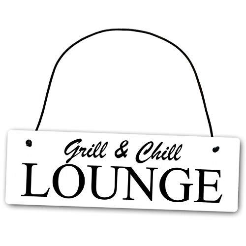 Homeyourself Metallschild Grill and Chill Lounge 25 x 8 cm aus Alu Verbund (Alu, Kunststoff) für In- und Outdoor Deko Schild Dekoschild Wandschild außen und Innen