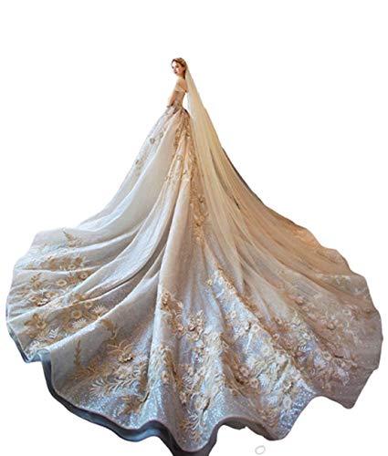 GL SUIT Long Tail-Linie Champagne SpitzeApplique Ärmel Weg von der Schulter Frauen Kapelle Brautkleid Lange Brautkleid-Abschlussball-Kleid geöffnete zurück,Longtail,XL