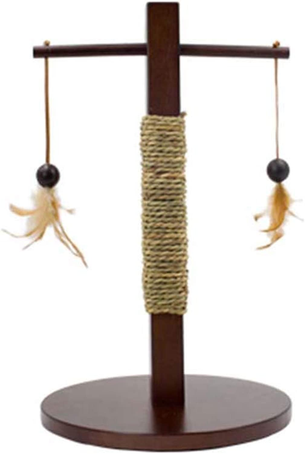 SHIJINHAOCat tree Climbing Frame Small Wear Resistant Solid Wood Anticollision Seaweed Weave Activity Center, 2 Styles (color   Brown, Size   30x30x60cm)