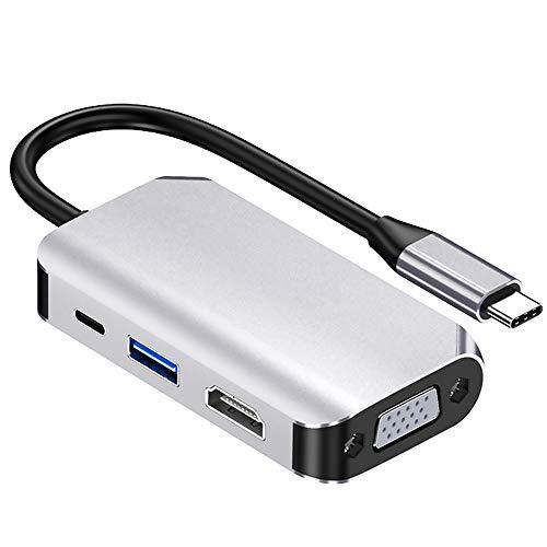 Fransande 4 en 1 tipo C a HUB USB 3.0 HUB tipo C VGA PD 60 W USB 3.0 Adaptador Base Base de carga para ordenador portátil tipo C Hub Dock