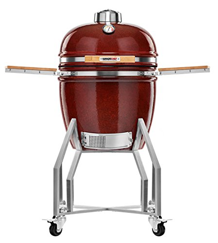 Kamado Chef 1900 Prestige Red Smooth XL 19 Inch Ceramic BBQ Charcoal Grill, Smoker and Oven for Grilling, Searing, Roasting, Smoking and Barbecue – incl. Heat Deflector, Cover etc.
