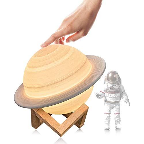 Mondlampe 3D Nachtlicht Dimmbar, Papasbox 15cm LED Saturn Lampe mit Fernbedienung, 16 RGB Farben Touch Mondlicht USB Aufladung Farbige Dekoleuchte Stimmungslicht mit Holzgestell