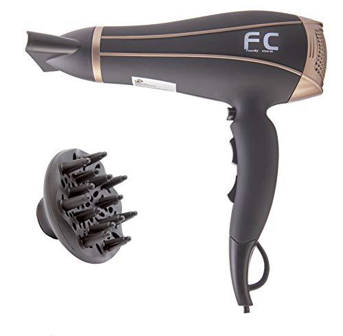 Family Care Secador de pelo profesional, 2 velocidades, 3 niveles de temperatura, difusor y concentrador, 2400 W, color negro