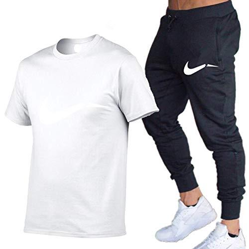 DREAMING-Primavera y verano, cuello redondo, deportes de ocio, estampado de letras, camiseta fina de manga corta para hombre + pantalones, traje de dos piezas L